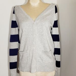 Old Navy blue and gray striped cardigan size XL